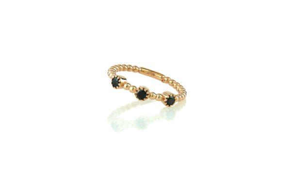 טבעת כדורים משובצת יהלומים