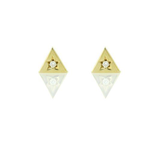 עגילי זהב משלוש צמודים משובצים יהלום לבן