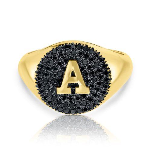 טבעת חותם משובצים יהלומים שחורית ואות
