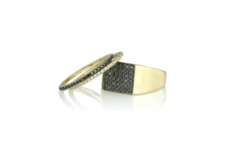 טבעת חותם יהלומים שחורים