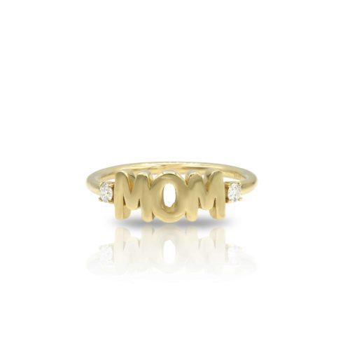 טבעת MOM משובצת יהלומים