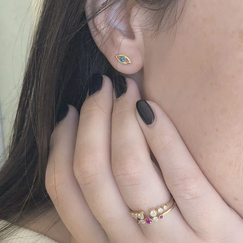 טבעת יהלומים פתוחה וטבעת רובי ויהלומים