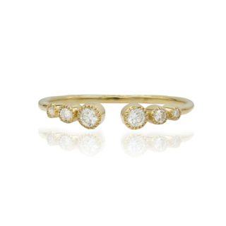 טבעת פתוחה משובצת יהלומים