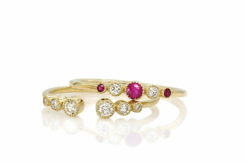 טבעת רובי וטבעת יהלומים פתוחה