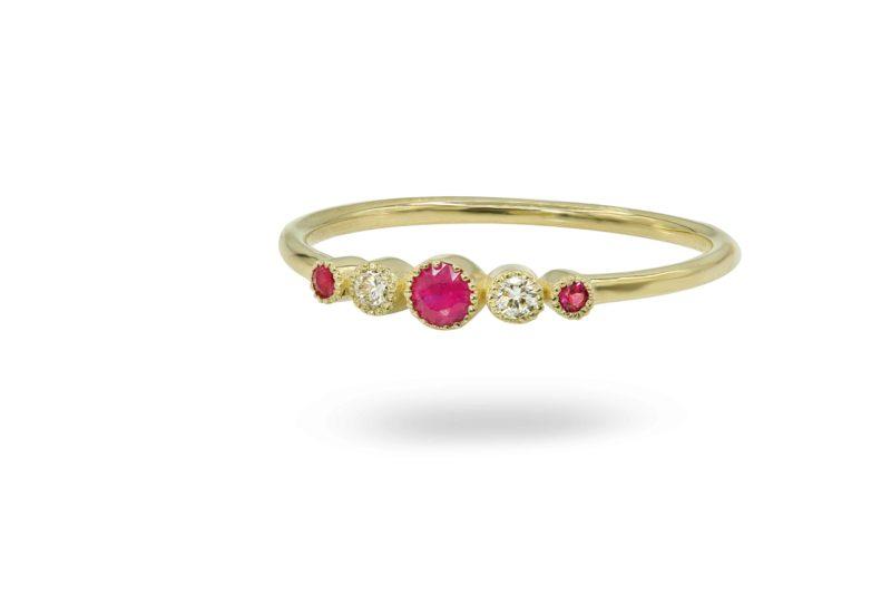 טבעת רובי ויהלומים