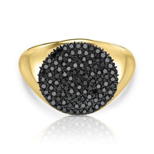 טבעת חותם משובצת יהלומים שחורים