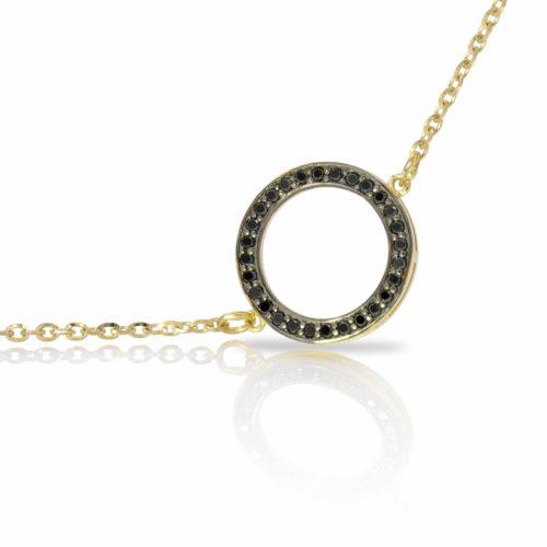 צמיד עיגול משובץ יהלומים שחורים