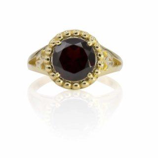 טבעת וינטאג׳ משובצת אבן גרנט טבעי