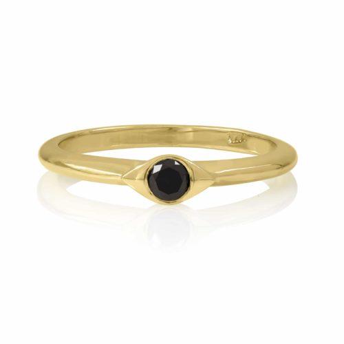 טבעת עין משובצת יהלום שחור