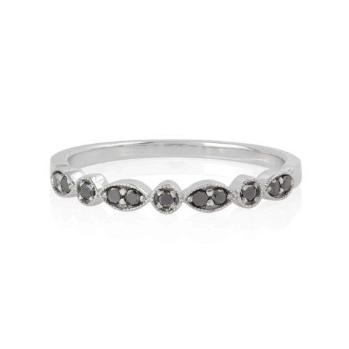 טבעת עלים יהלומים שחורים