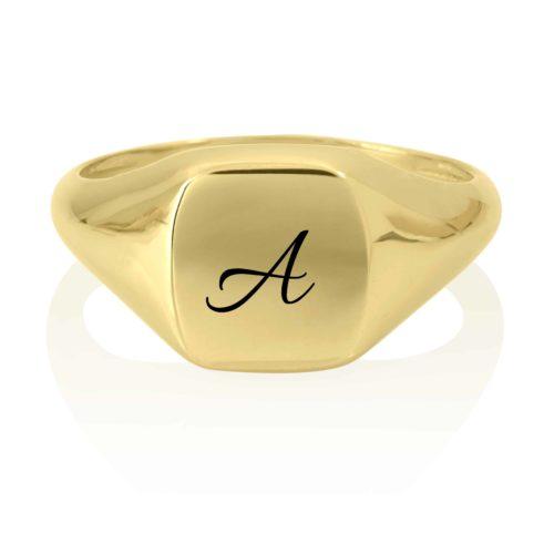 טבעת חותם זהב 14 קארט עם חריטה