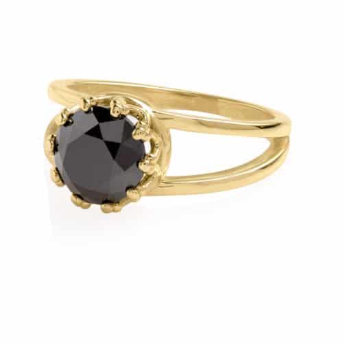 טבעת כתר יהלום שחור 2 קארט