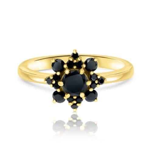 טבעת פרח משובצת יהלומים שחורים