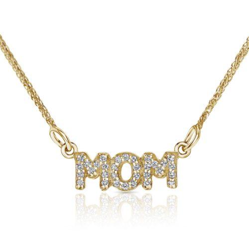 שרשרת MOM עדינה משובצת יהלומים לבנים