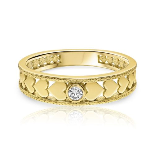 טבעת לבבות וינטאג׳ משובצת יהלום לבן