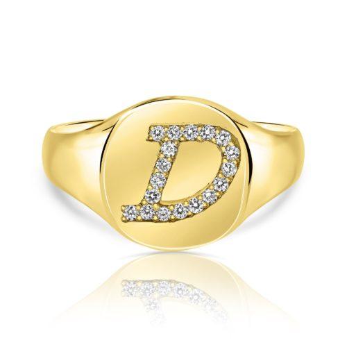 טבעת חותם אות משובצת יהלומים לבנים