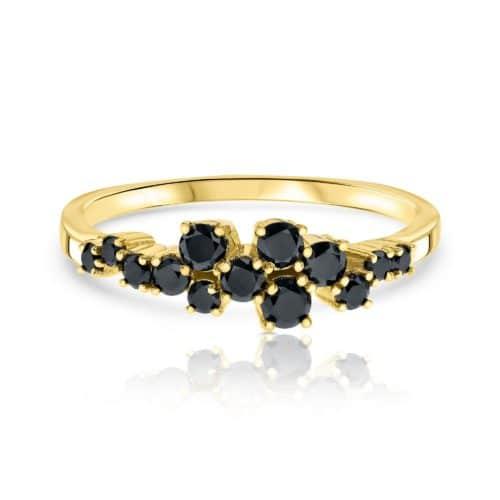 טבעת א-סימטרית יהלומים שחורים
