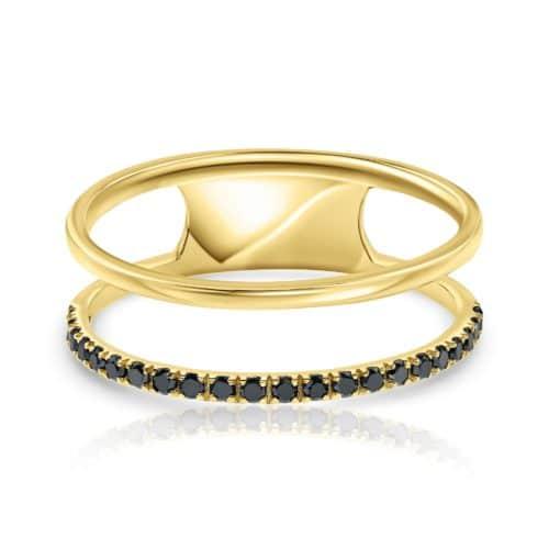 טבעת דאבל יהלומים שחורים