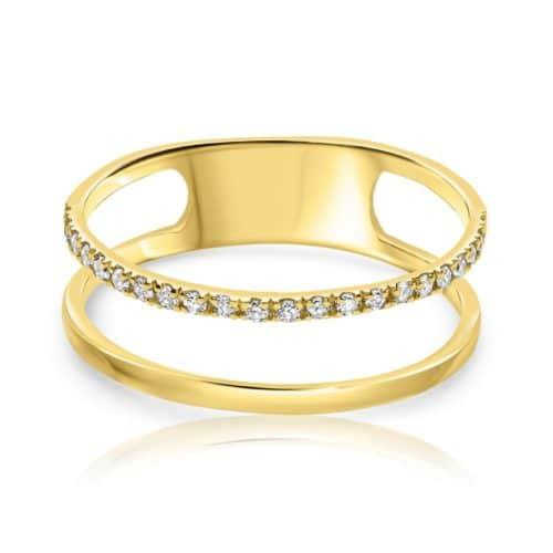 טבעת דאבל יהלומים לבנים