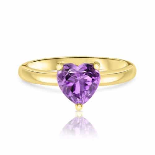 טבעת אמטיסט טבעי בחיתוך לב