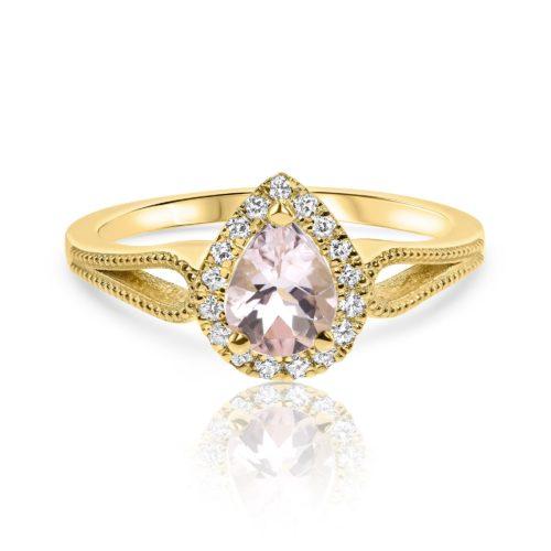 טבעת טיפה מורגנייט ורודה עם יהלומים לבנים