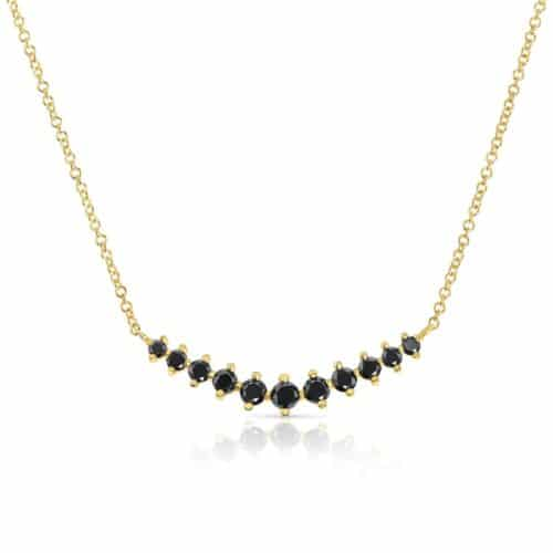 שרשרת V מיוחדת משובצת יהלומים שחורים