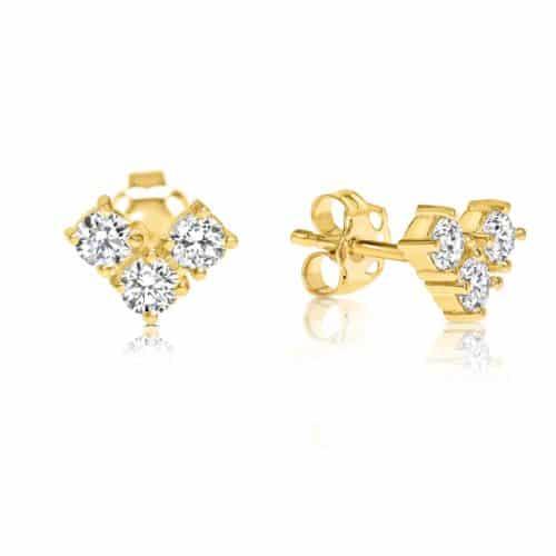 עגילי לב צמודים - 3 יהלומים לבנים
