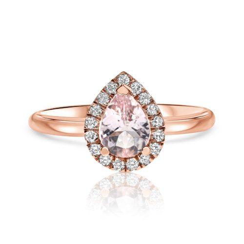 טבעת חלקה משובצת אבן מורגנייט ורודה ויהלומים לבנים