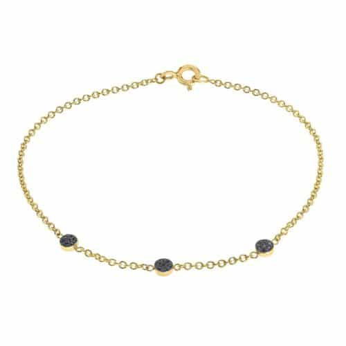 צמיד זהב עדין עם 3 עיגולי יהלומים שחורים