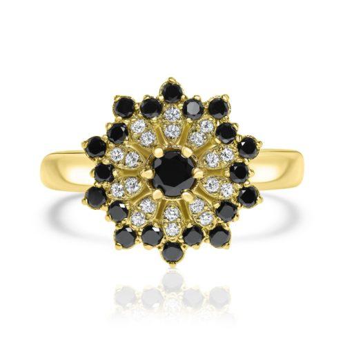 טבעת פרח משוגע משובצת יהלומים שחורים ולבנים