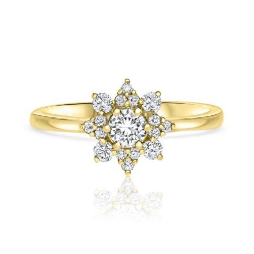 טבעת פרח משובצת יהלומים לבנים
